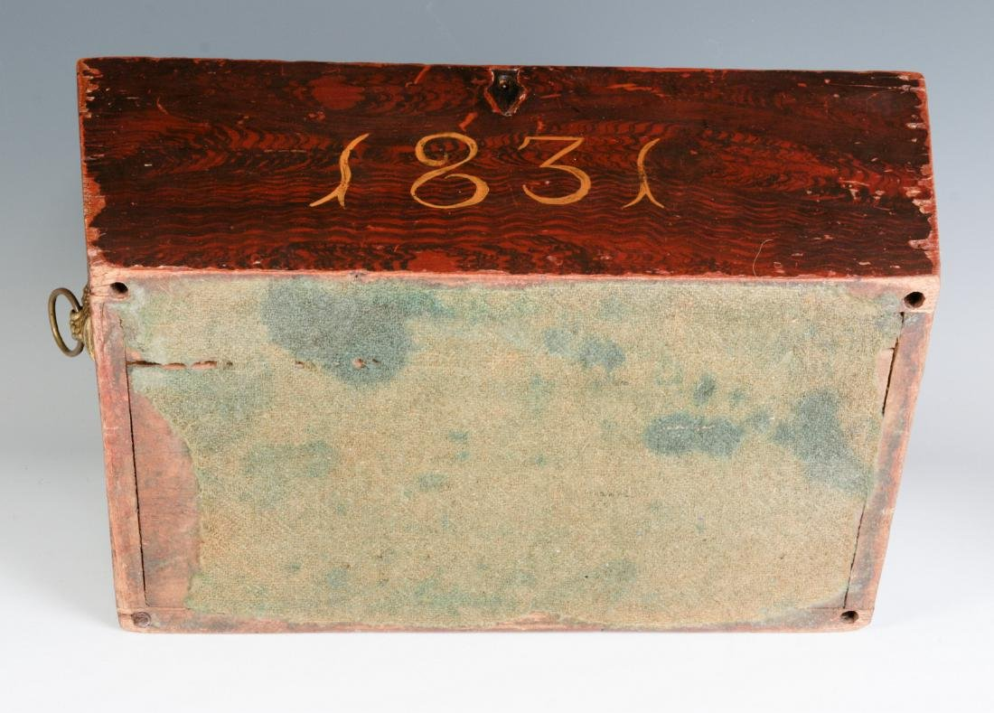 A NICE GRAIN PAINTED DOCUMENT BOX DATED 1831 - 11