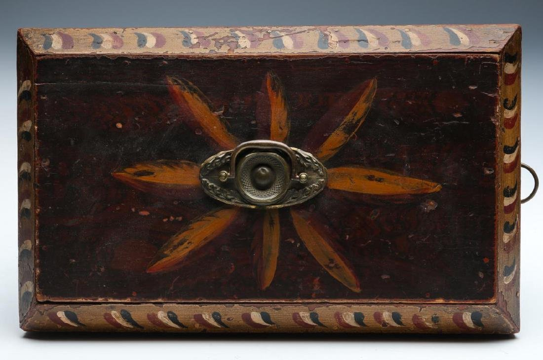 A NICE GRAIN PAINTED DOCUMENT BOX DATED 1831 - 12