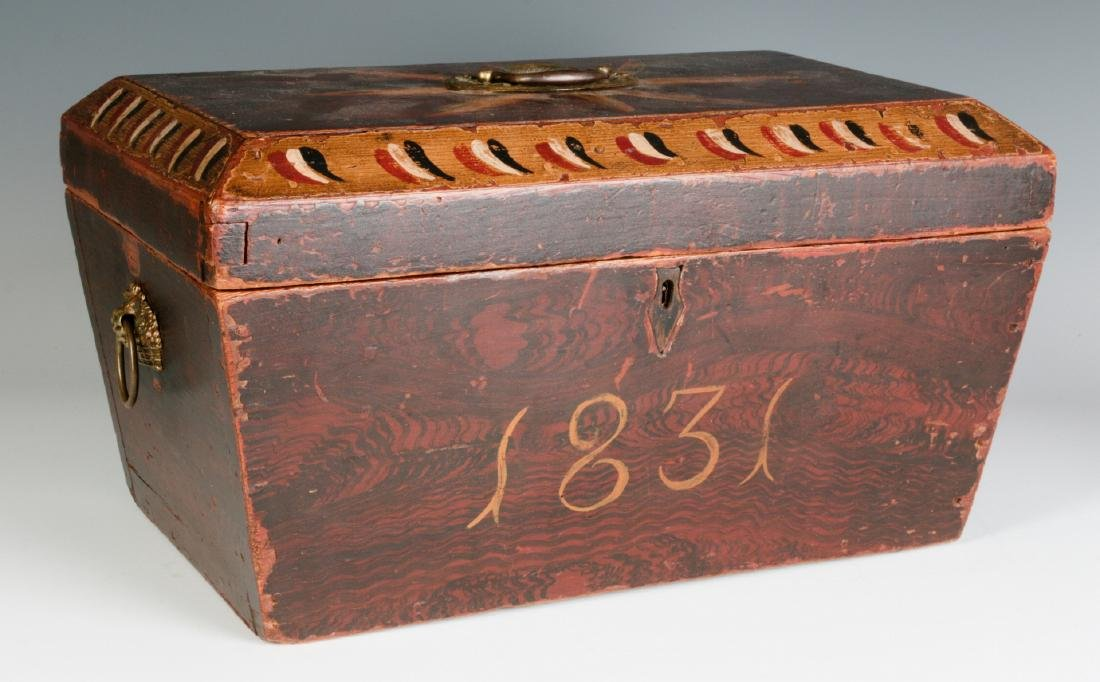 A NICE GRAIN PAINTED DOCUMENT BOX DATED 1831