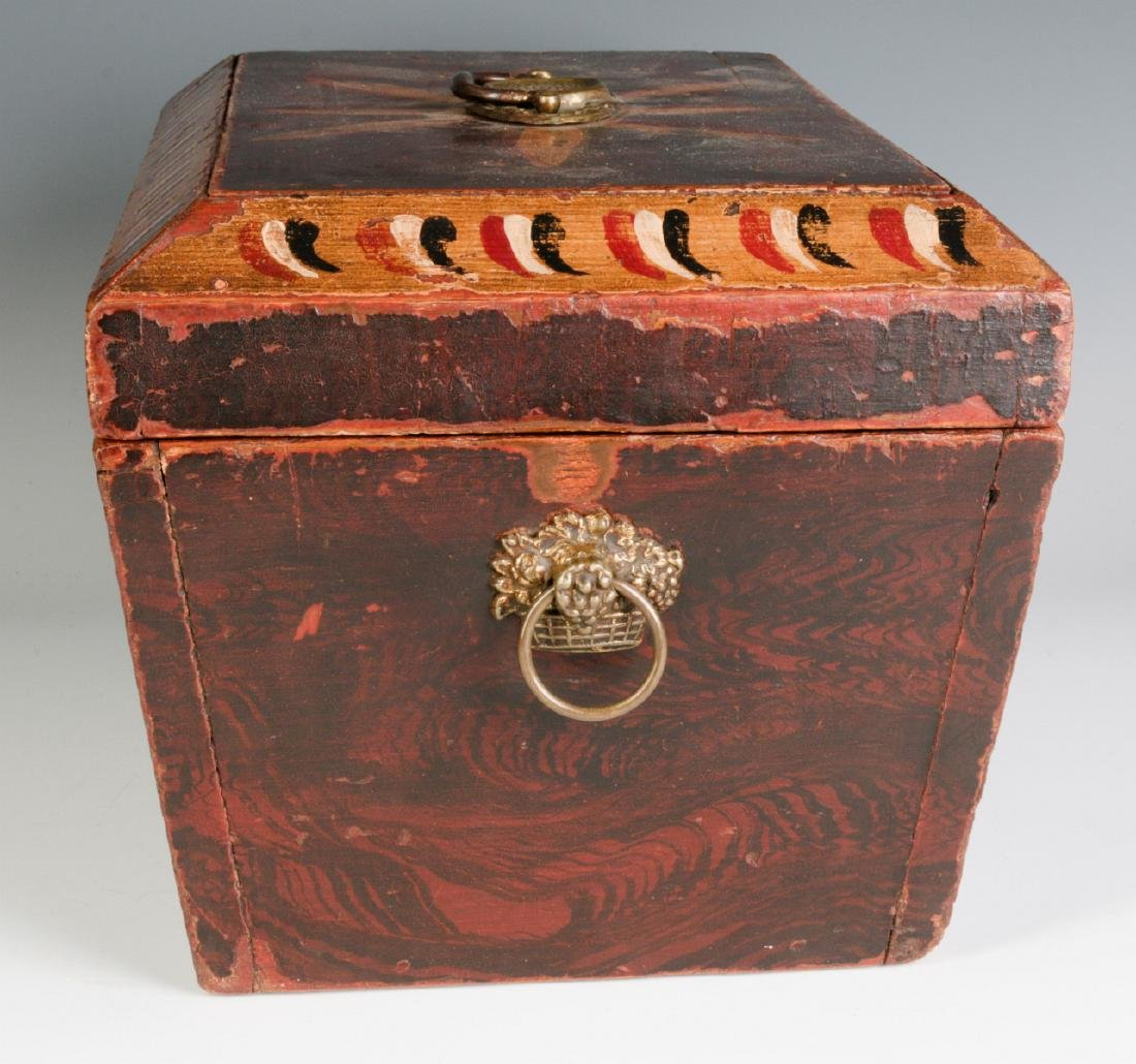 A NICE GRAIN PAINTED DOCUMENT BOX DATED 1831 - 2