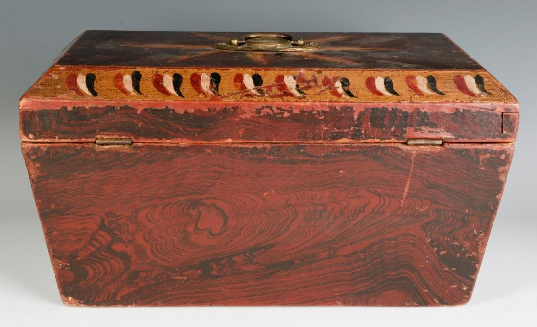 A NICE GRAIN PAINTED DOCUMENT BOX DATED 1831 - 4