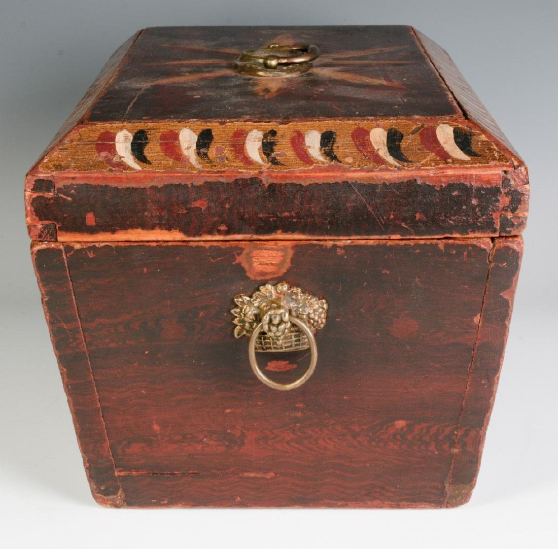 A NICE GRAIN PAINTED DOCUMENT BOX DATED 1831 - 5