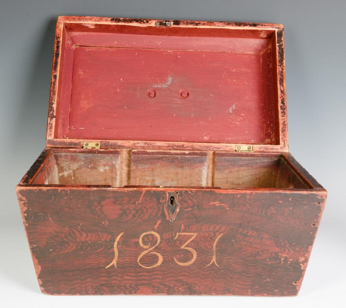 A NICE GRAIN PAINTED DOCUMENT BOX DATED 1831 - 6