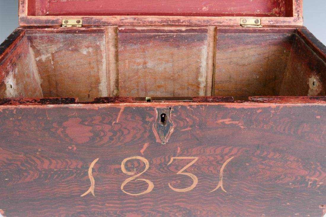 A NICE GRAIN PAINTED DOCUMENT BOX DATED 1831 - 8