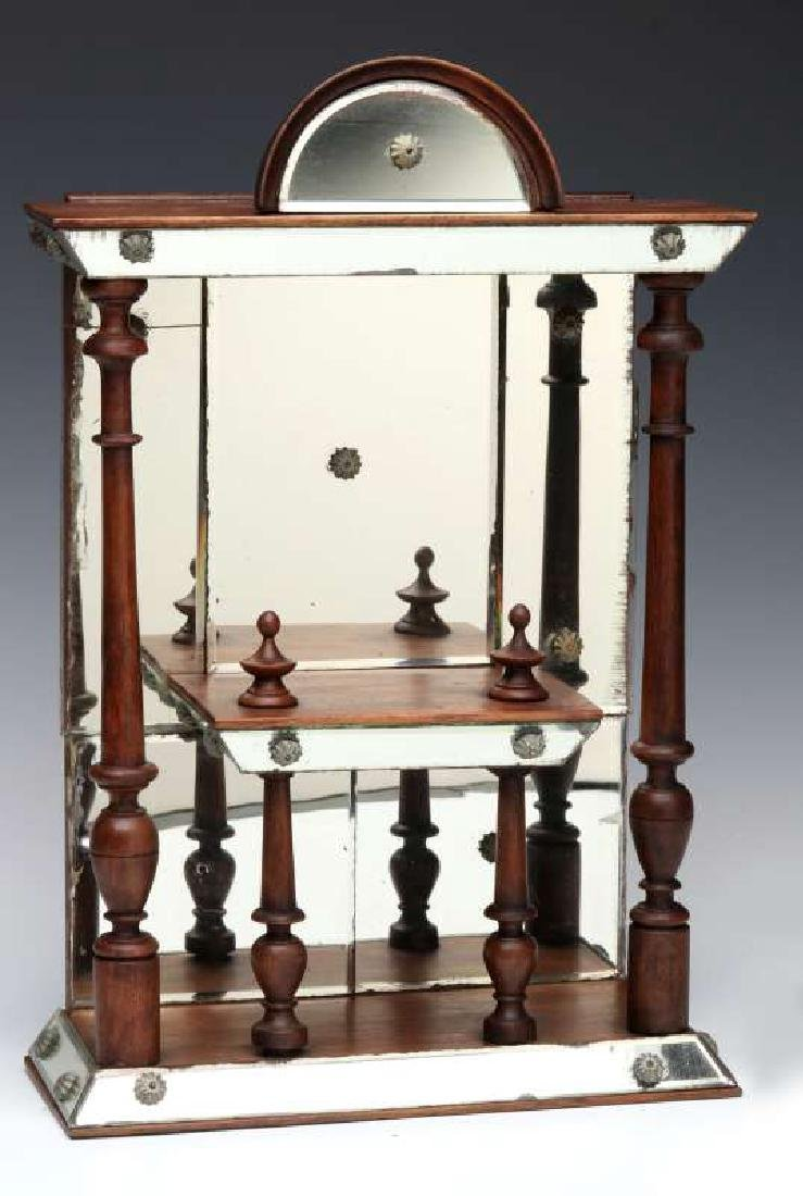 AN INTERESTING MIRRORED WHAT-NOT SHELF CIRCA 1875