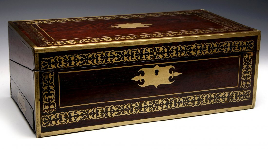 AN ELABORATE BRASS INLAID ROSEWOOD LAP DESK C 1870