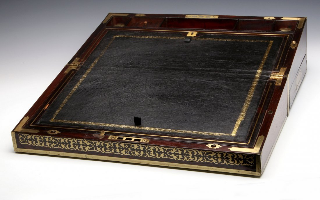 AN ELABORATE BRASS INLAID ROSEWOOD LAP DESK C 1870 - 2