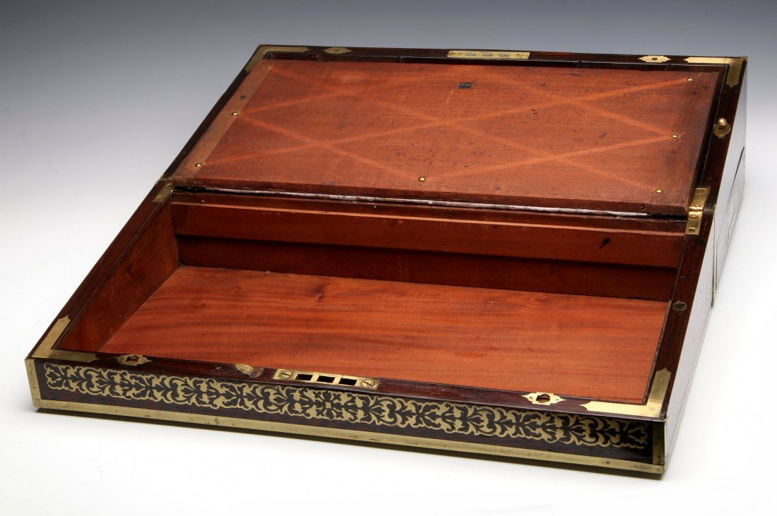 AN ELABORATE BRASS INLAID ROSEWOOD LAP DESK C 1870 - 3