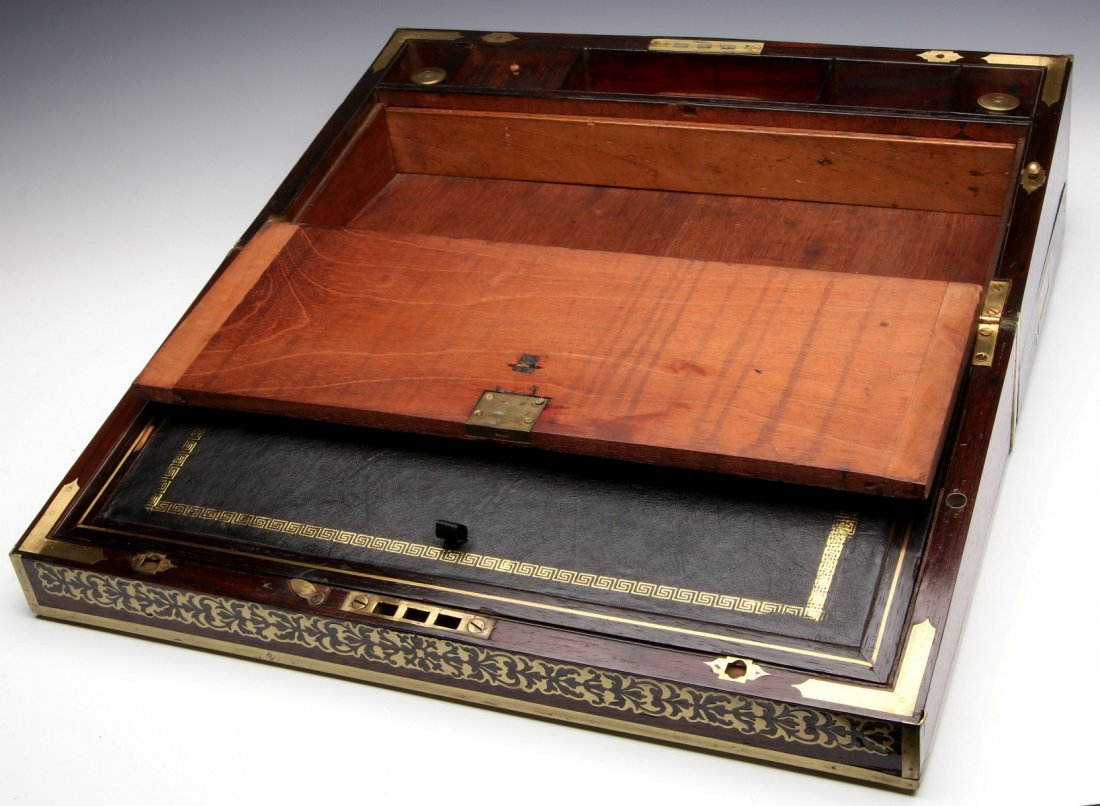 AN ELABORATE BRASS INLAID ROSEWOOD LAP DESK C 1870 - 4