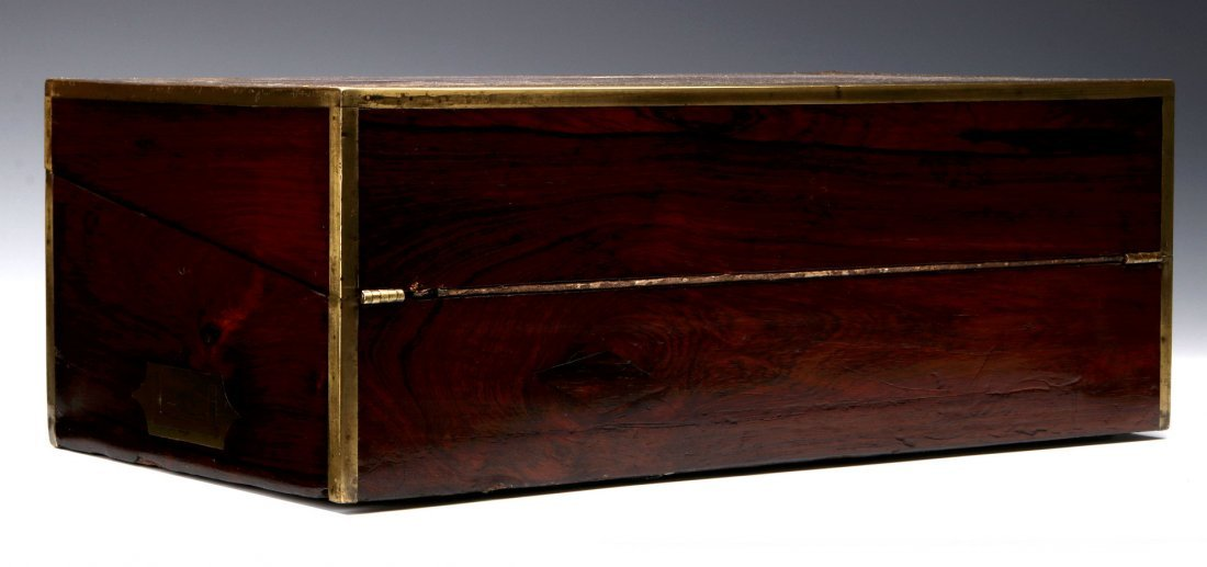 AN ELABORATE BRASS INLAID ROSEWOOD LAP DESK C 1870 - 9