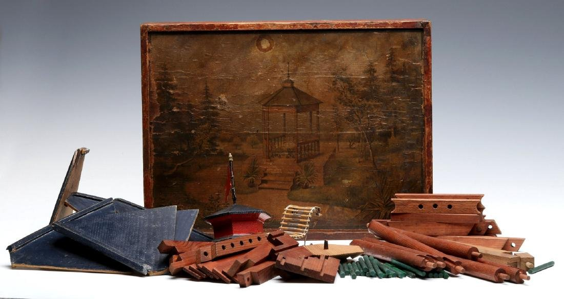 VICTORIAN LITHO ON WOOD BOXED BUILDING BLOCKS SET