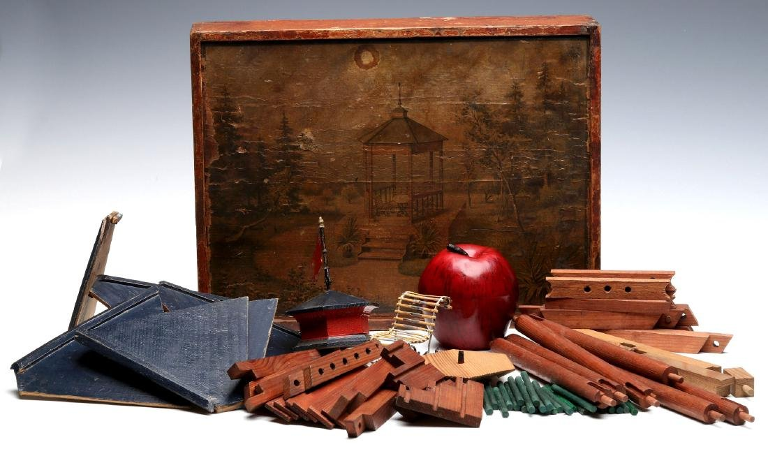 VICTORIAN LITHO ON WOOD BOXED BUILDING BLOCKS SET - 6
