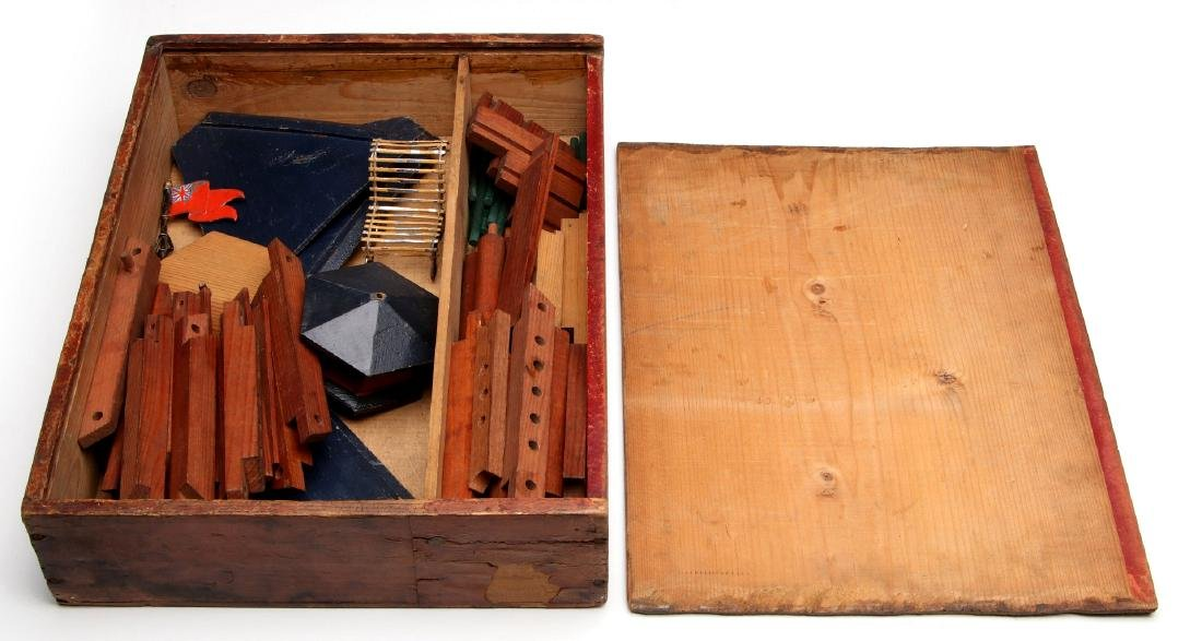 VICTORIAN LITHO ON WOOD BOXED BUILDING BLOCKS SET - 7