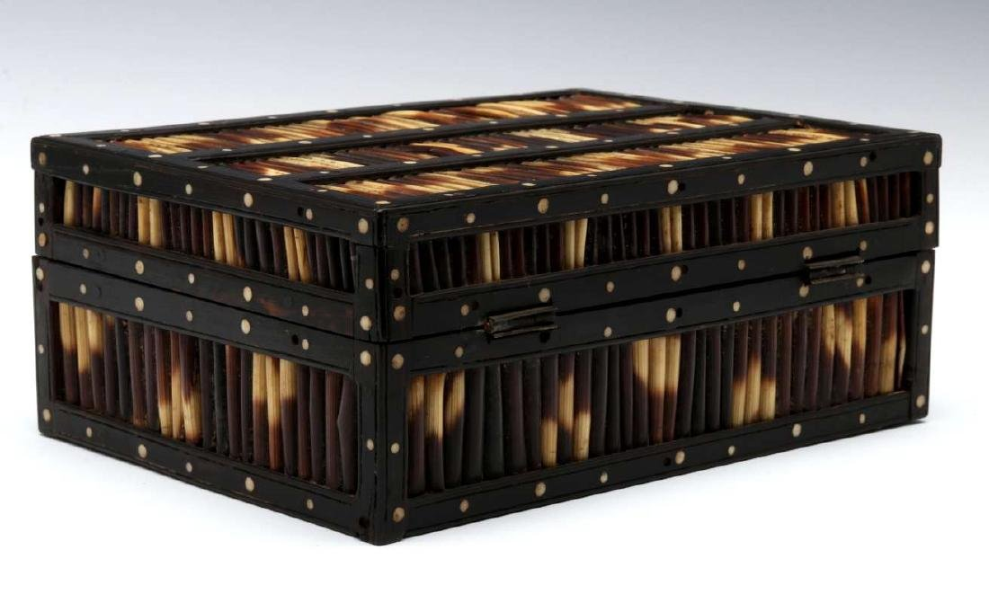 AN ANGLO-INDIAN INLAID PORCUPINE QUILL TRINKET BOX - 5