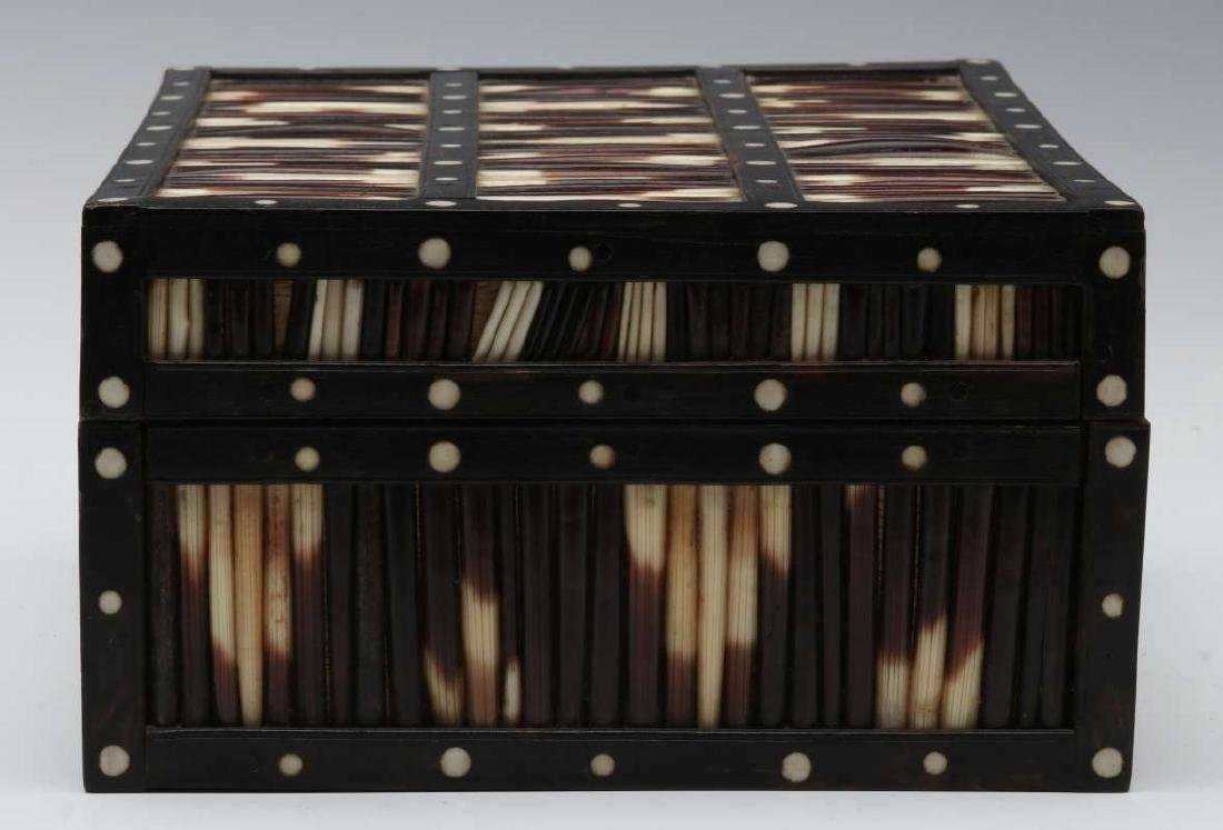 AN ANGLO-INDIAN INLAID PORCUPINE QUILL TRINKET BOX - 6