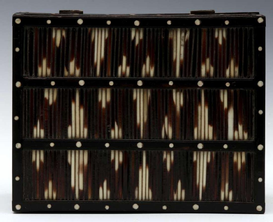 AN ANGLO-INDIAN INLAID PORCUPINE QUILL TRINKET BOX - 7