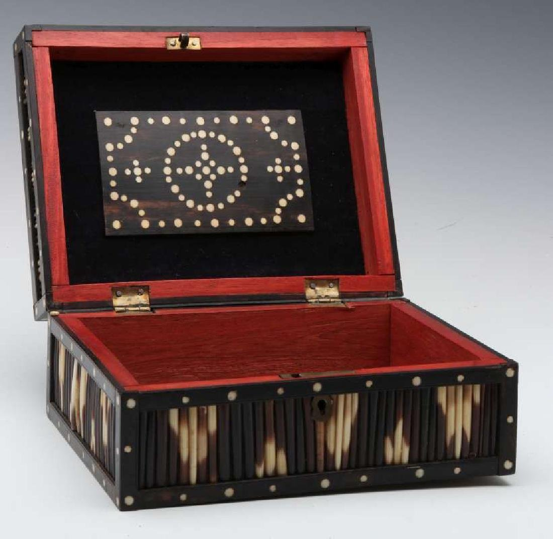 AN ANGLO-INDIAN INLAID PORCUPINE QUILL TRINKET BOX - 9