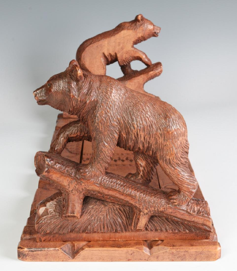 AN EARLY 20TH C BLACK FOREST BOOK STAND WITH BEARS - 2