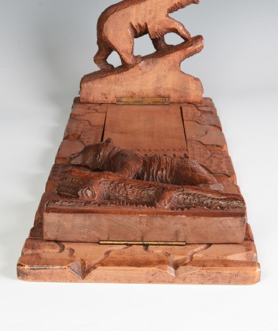 AN EARLY 20TH C BLACK FOREST BOOK STAND WITH BEARS - 3