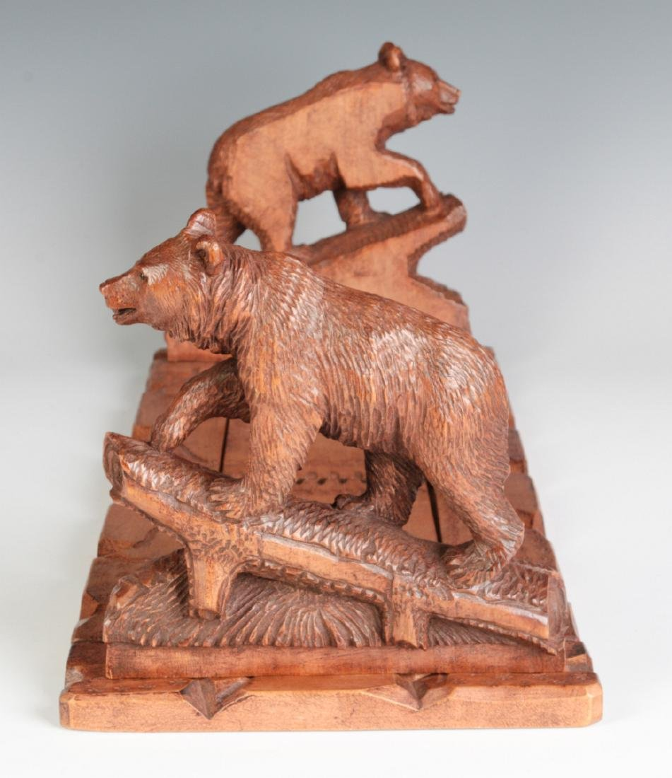 AN EARLY 20TH C BLACK FOREST BOOK STAND WITH BEARS - 5
