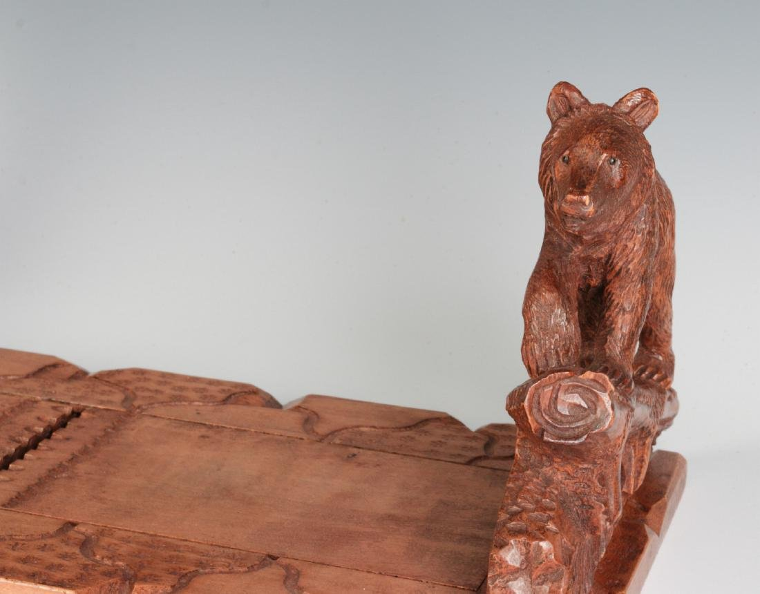 AN EARLY 20TH C BLACK FOREST BOOK STAND WITH BEARS - 7