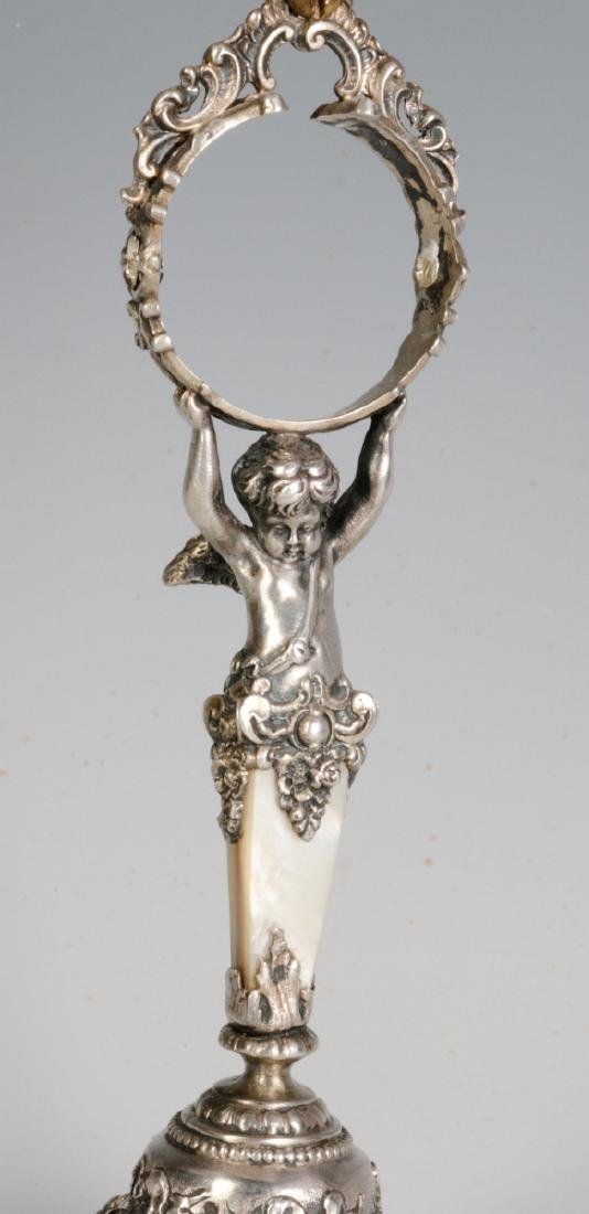 A 19C. FRENCH 800 SILVER & SHELL NAPKIN RING STAND - 2