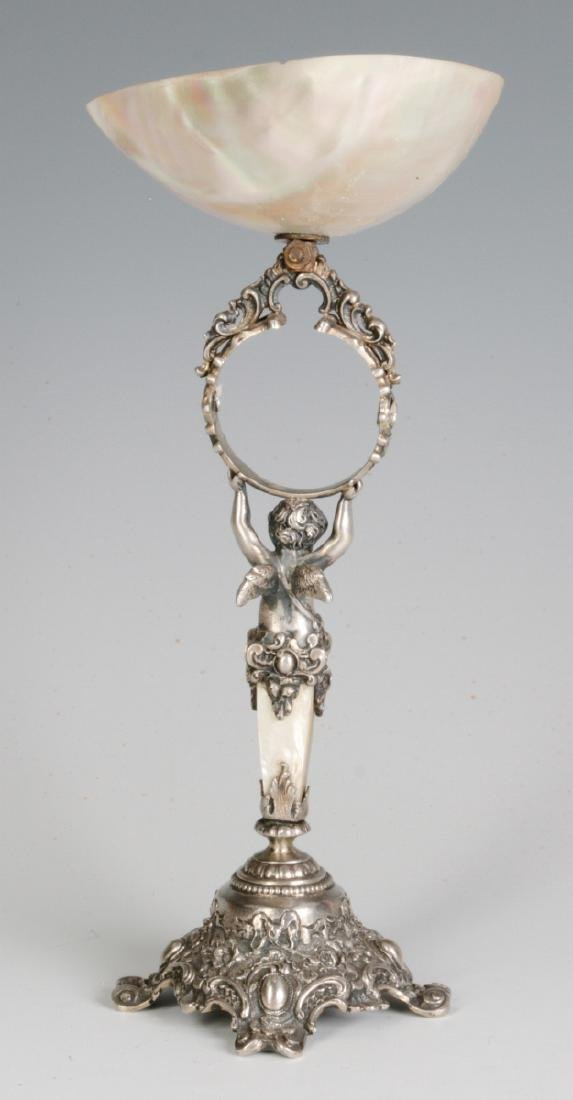 A 19C. FRENCH 800 SILVER & SHELL NAPKIN RING STAND - 3