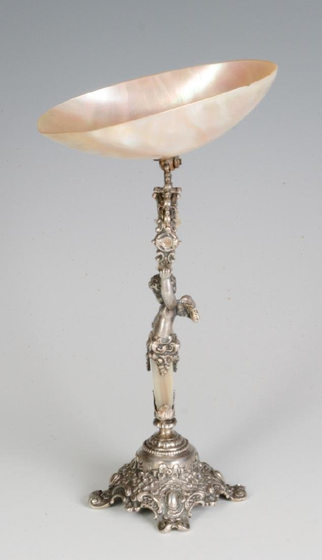 A 19C. FRENCH 800 SILVER & SHELL NAPKIN RING STAND - 5