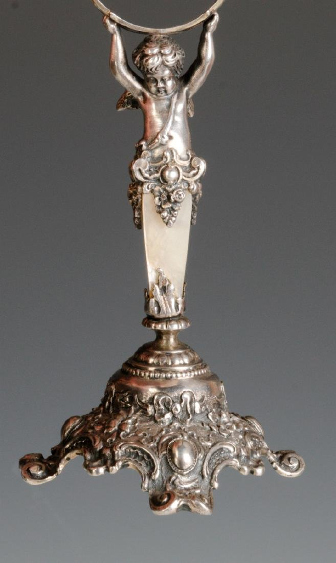 A 19C. FRENCH 800 SILVER & SHELL NAPKIN RING STAND - 7