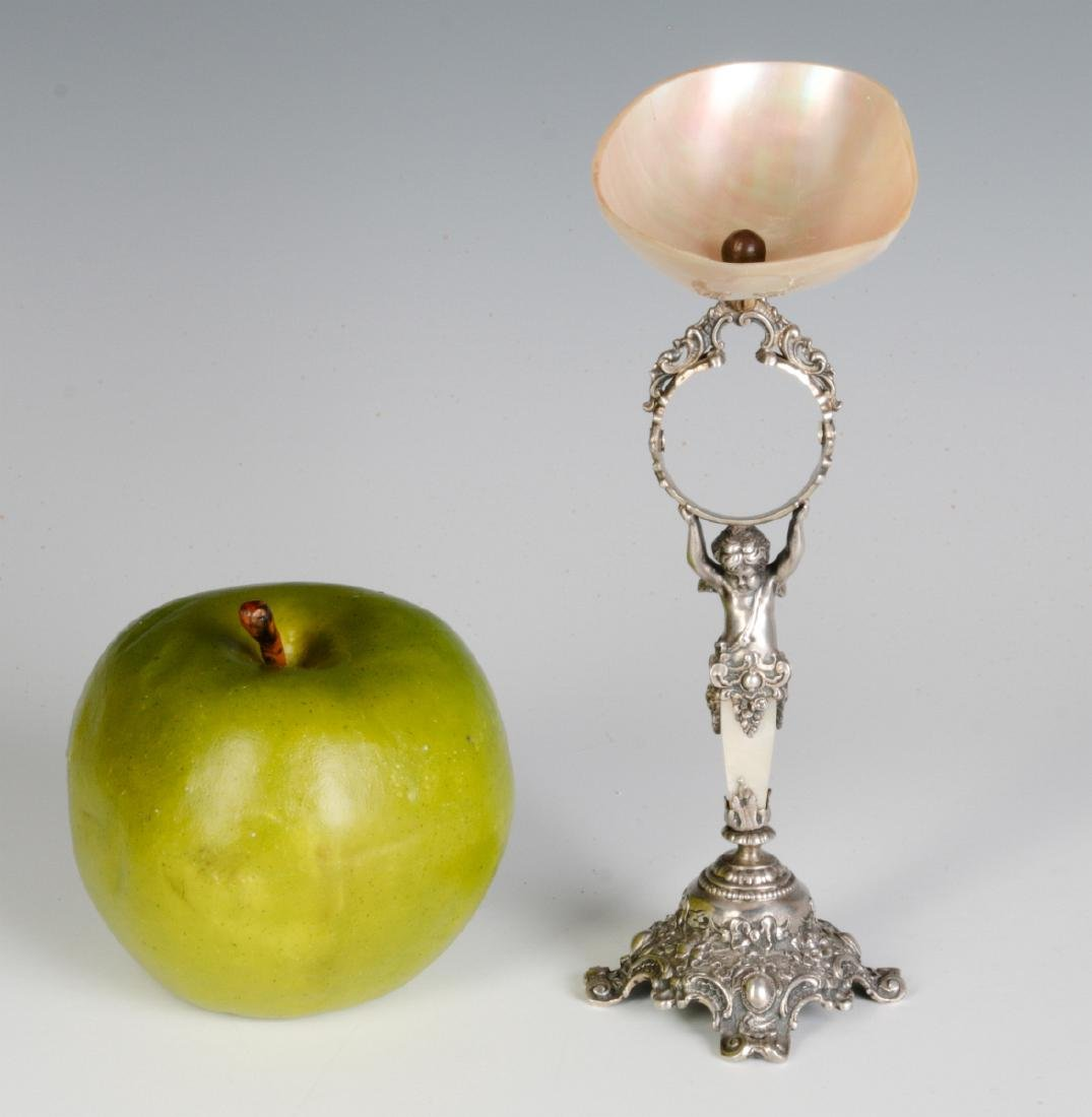 A 19C. FRENCH 800 SILVER & SHELL NAPKIN RING STAND - 8