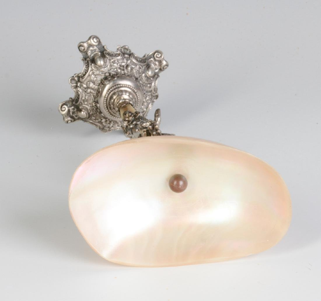 A 19C. FRENCH 800 SILVER & SHELL NAPKIN RING STAND - 9