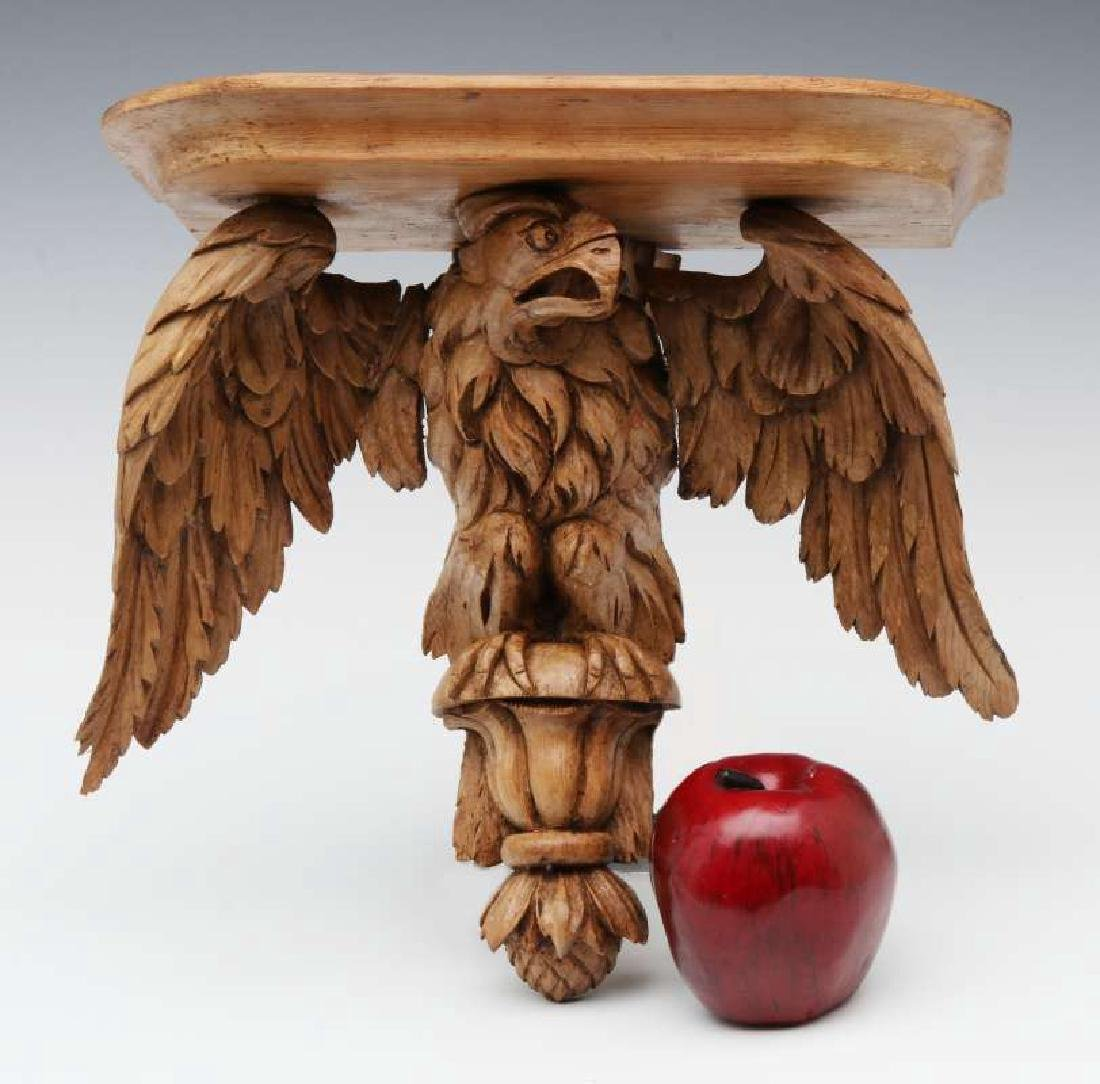 A 19TH C. CARVED PINE FIGURAL EAGLE BRACKET SHELF - 2