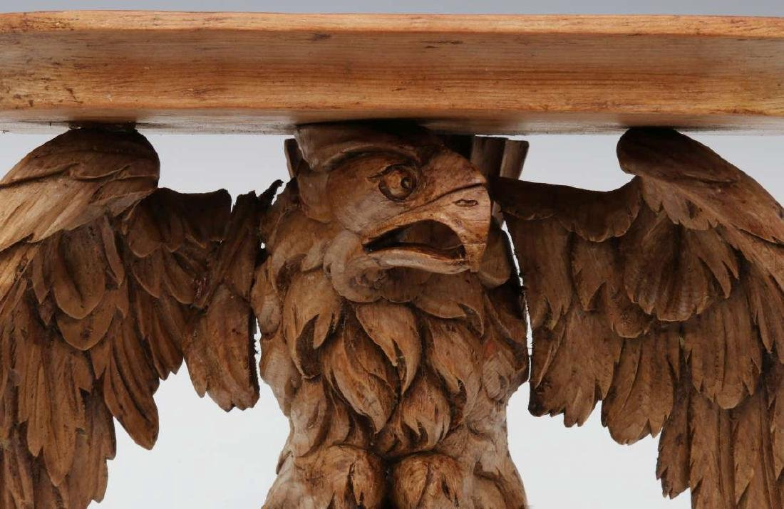 A 19TH C. CARVED PINE FIGURAL EAGLE BRACKET SHELF - 3