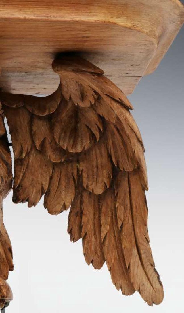 A 19TH C. CARVED PINE FIGURAL EAGLE BRACKET SHELF - 5