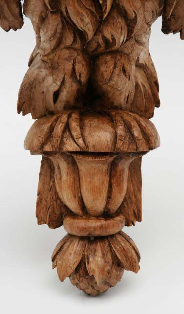 A 19TH C. CARVED PINE FIGURAL EAGLE BRACKET SHELF - 6