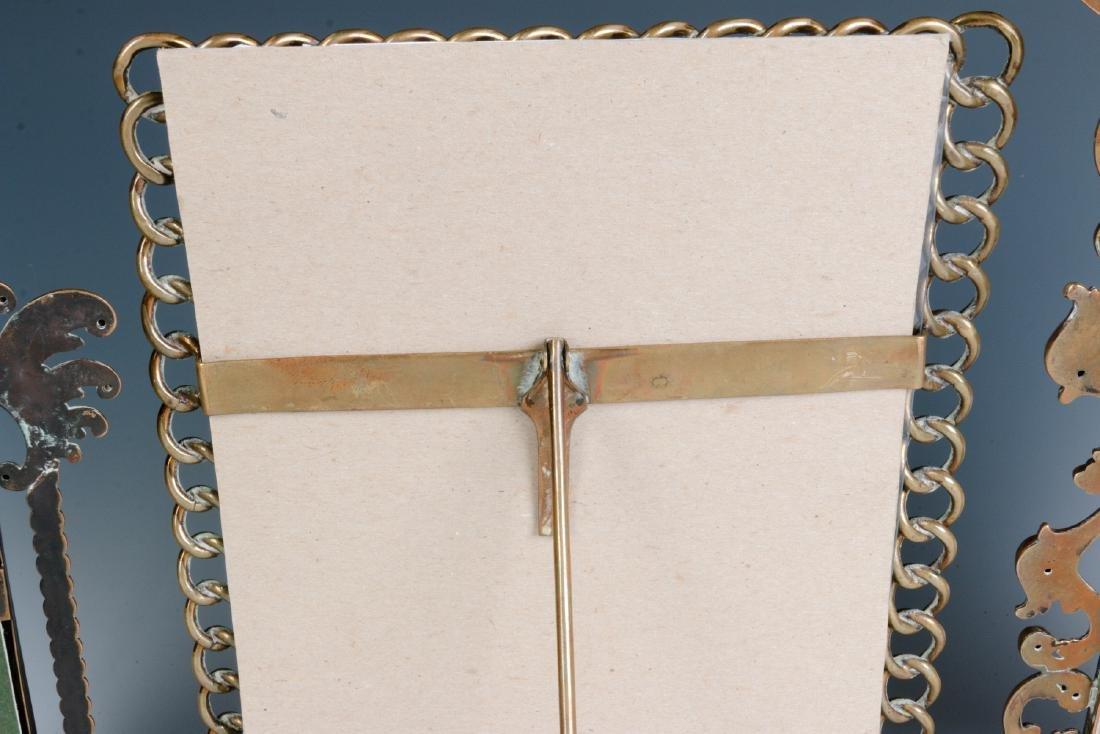 THREE INTERESTING CIRCA 1900 BRASS PICTURE FRAMES - 10