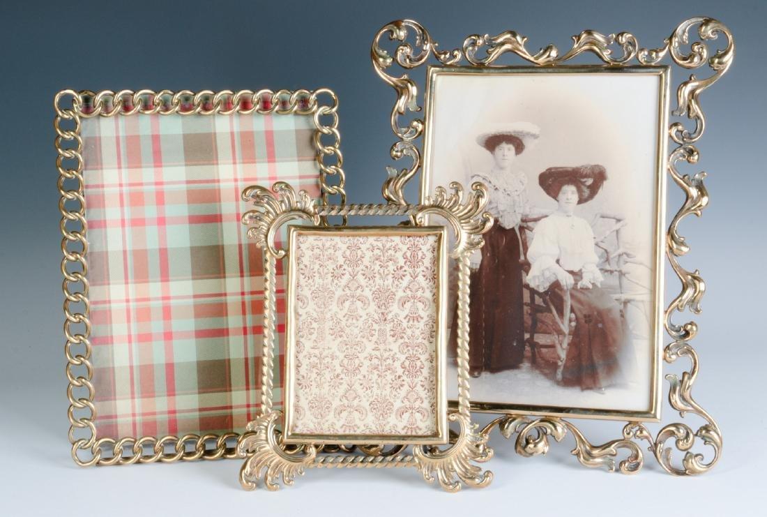 THREE INTERESTING CIRCA 1900 BRASS PICTURE FRAMES