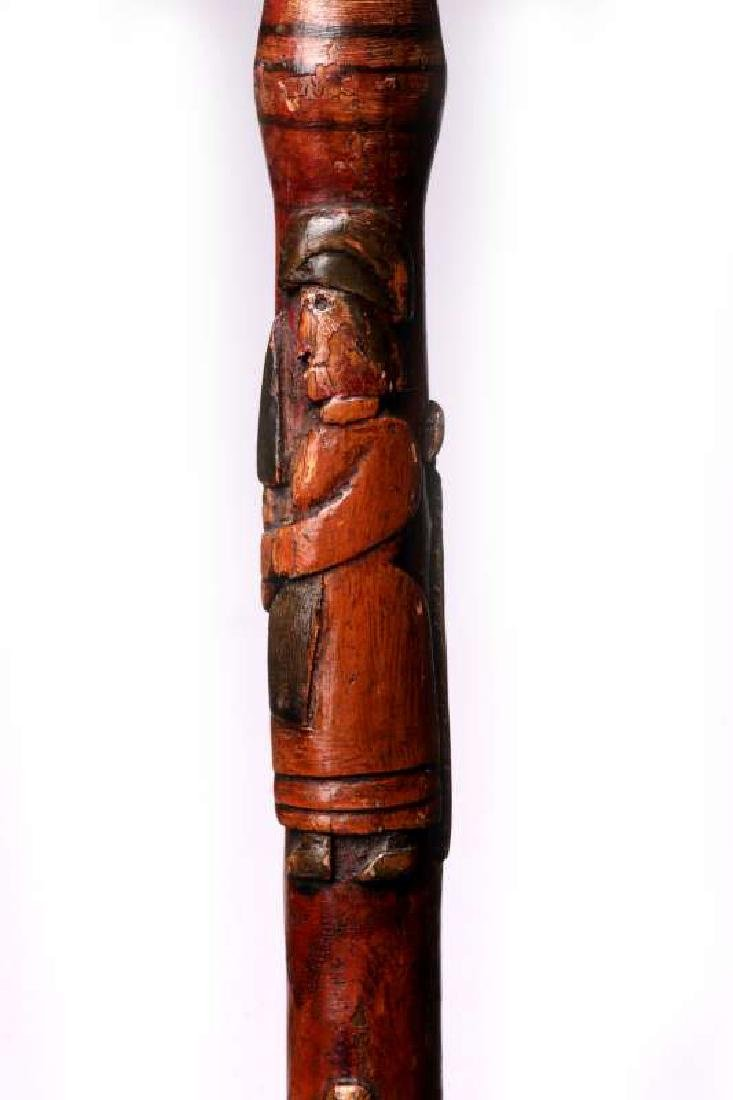 A 19THC CARVED FOLK ART CANE WITH FIGURES & SNAKE - 2