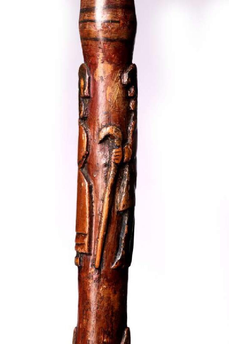 A 19THC CARVED FOLK ART CANE WITH FIGURES & SNAKE - 4