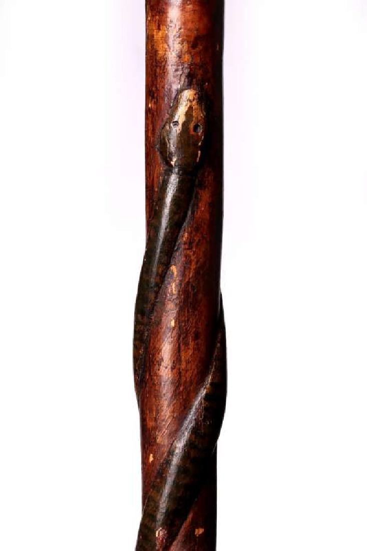 A 19THC CARVED FOLK ART CANE WITH FIGURES & SNAKE - 5