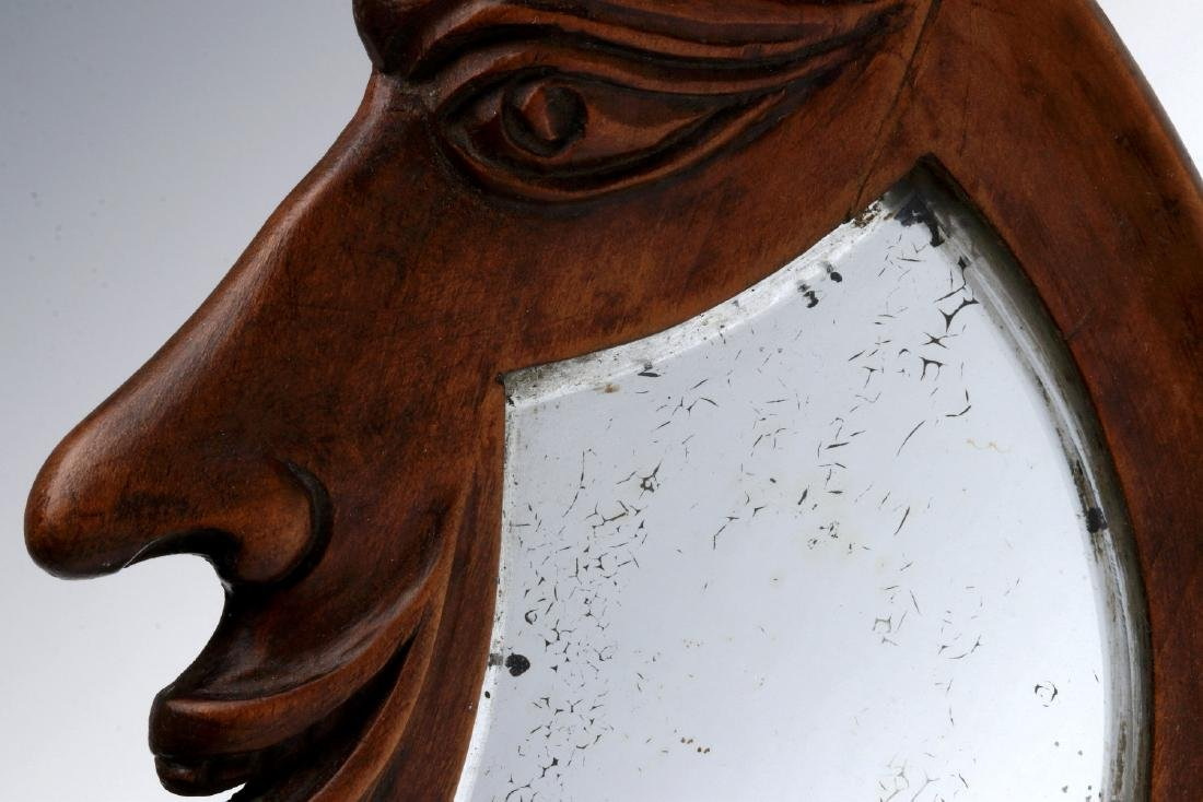 AN EARLY 20TH C. CARVED CRESCENT MOON HAND MIRROR - 3