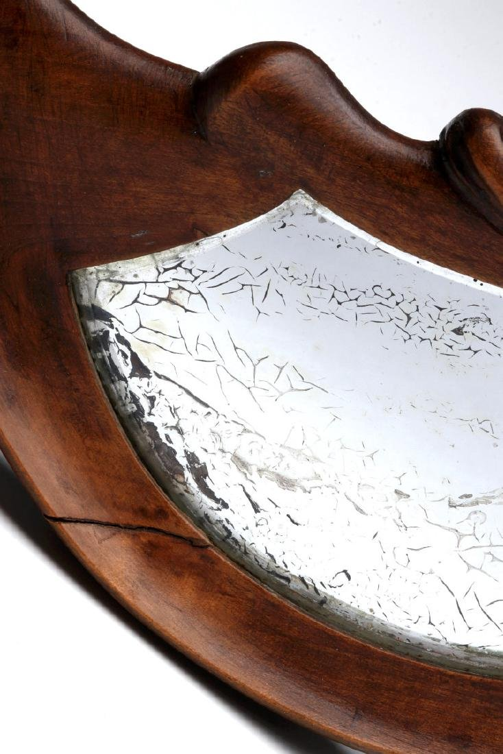 AN EARLY 20TH C. CARVED CRESCENT MOON HAND MIRROR - 4