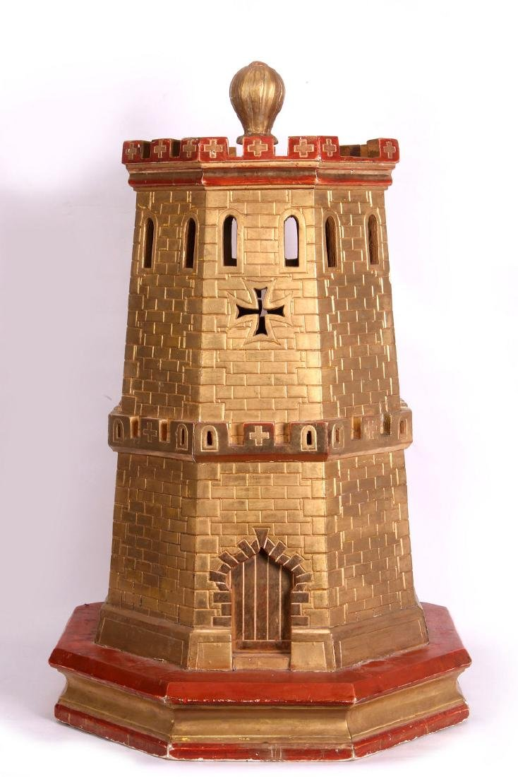 A CIRCA 1900 PAINTED WOOD MODEL OF A CASTLE TURRET