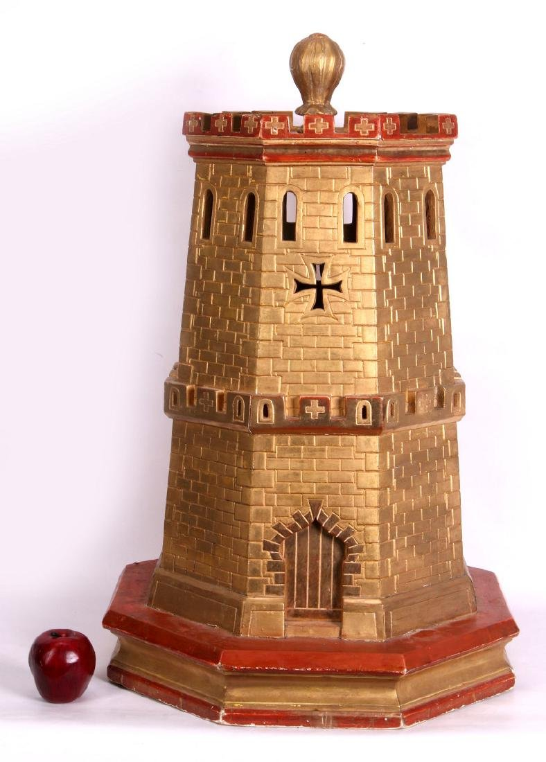 A CIRCA 1900 PAINTED WOOD MODEL OF A CASTLE TURRET - 2
