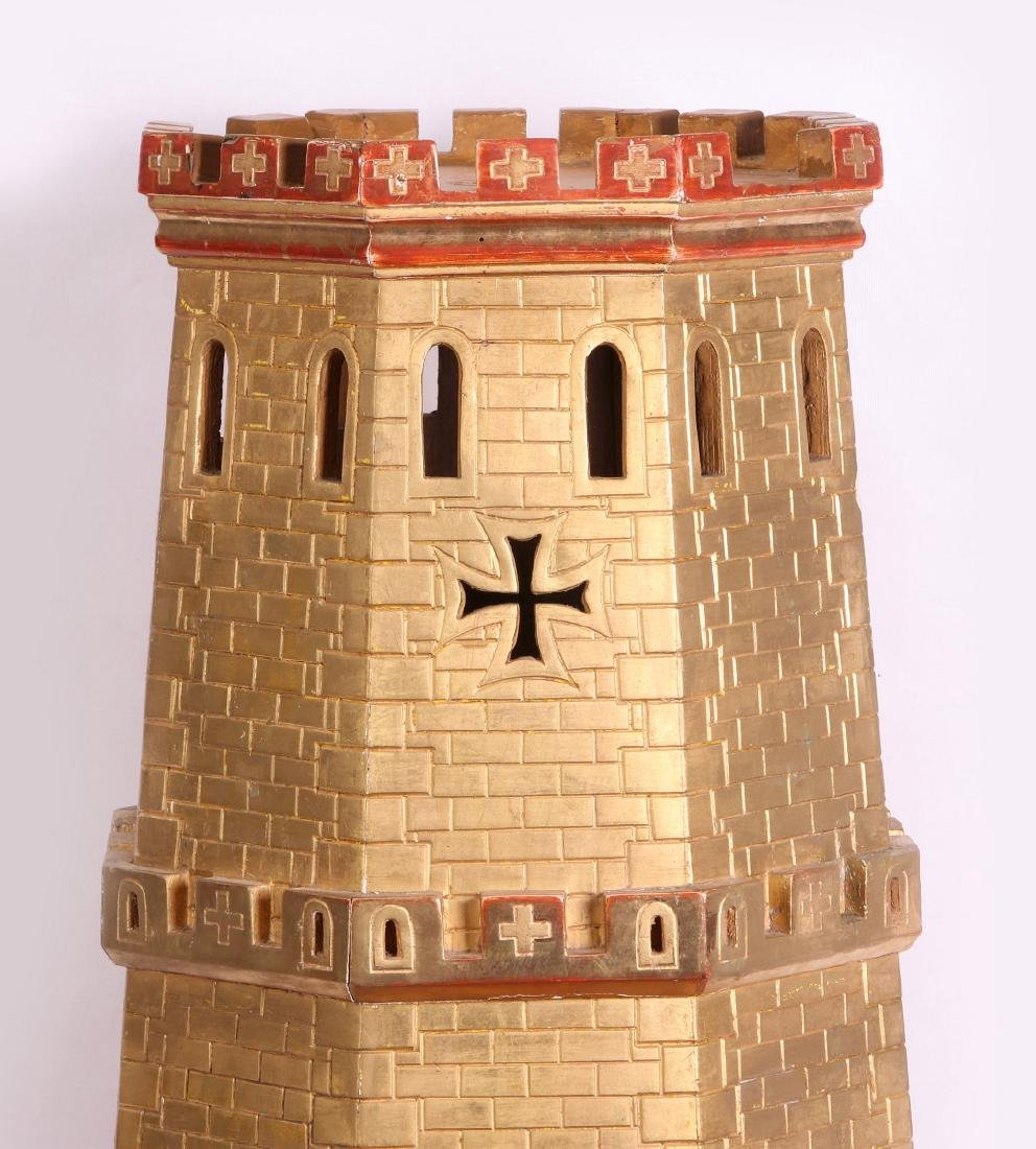 A CIRCA 1900 PAINTED WOOD MODEL OF A CASTLE TURRET - 3