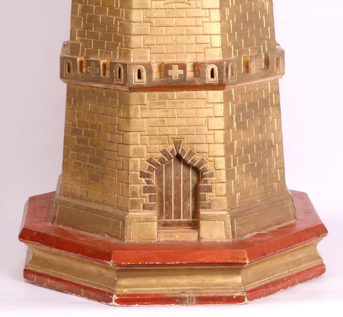 A CIRCA 1900 PAINTED WOOD MODEL OF A CASTLE TURRET - 4