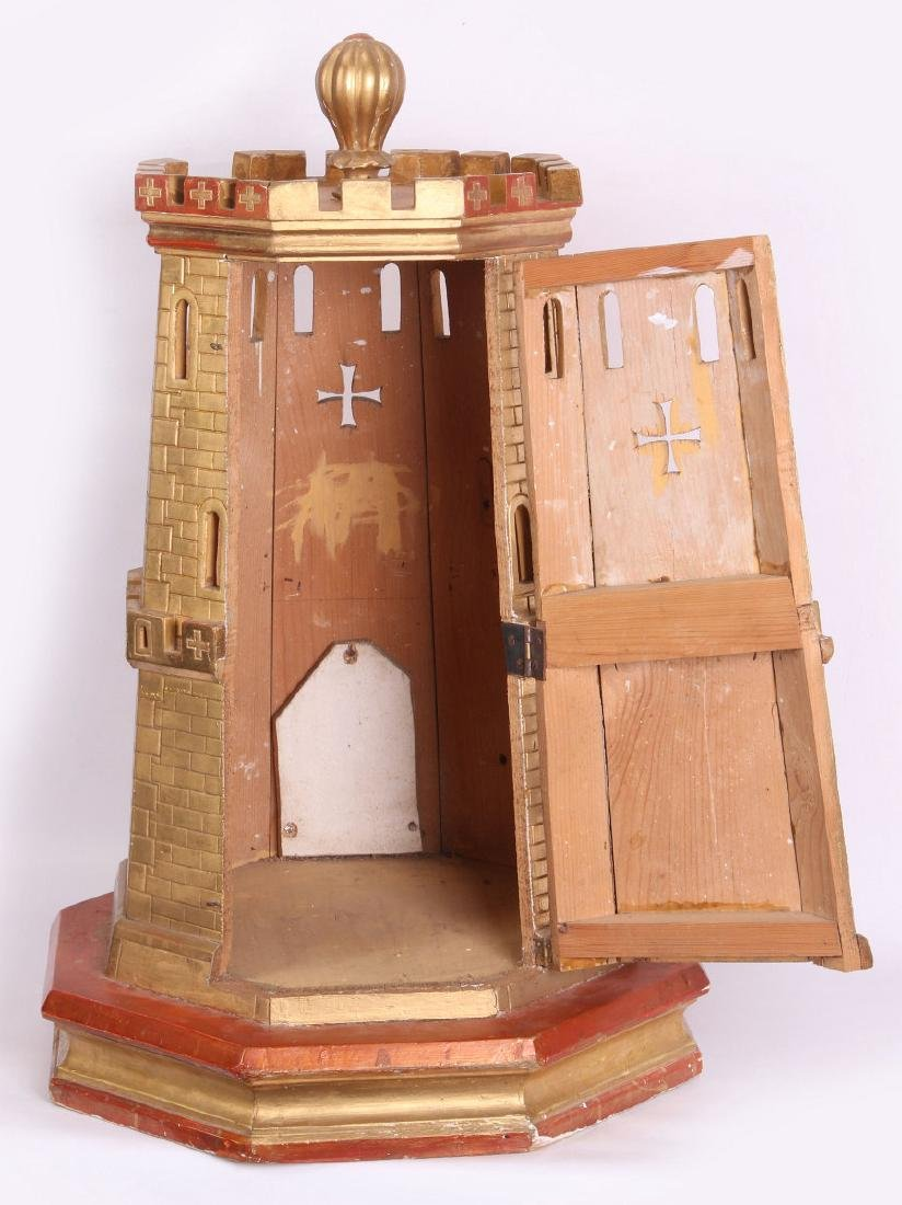 A CIRCA 1900 PAINTED WOOD MODEL OF A CASTLE TURRET - 5