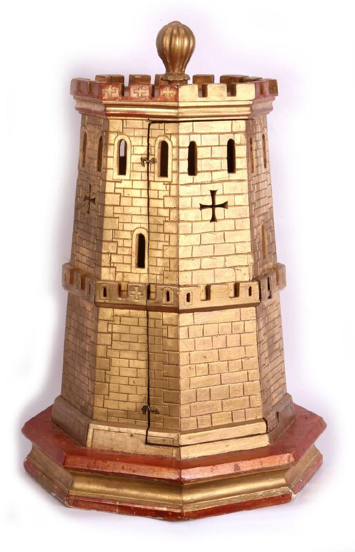 A CIRCA 1900 PAINTED WOOD MODEL OF A CASTLE TURRET - 6