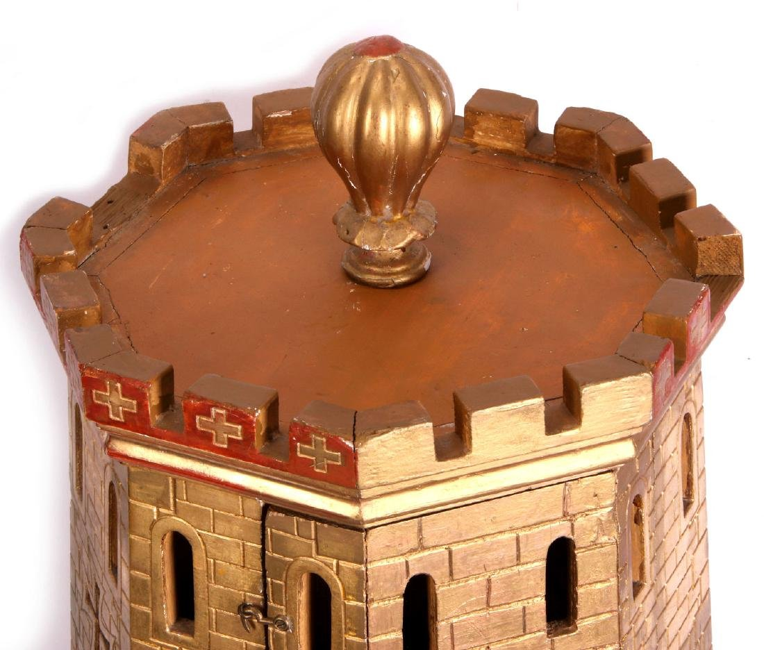 A CIRCA 1900 PAINTED WOOD MODEL OF A CASTLE TURRET - 7