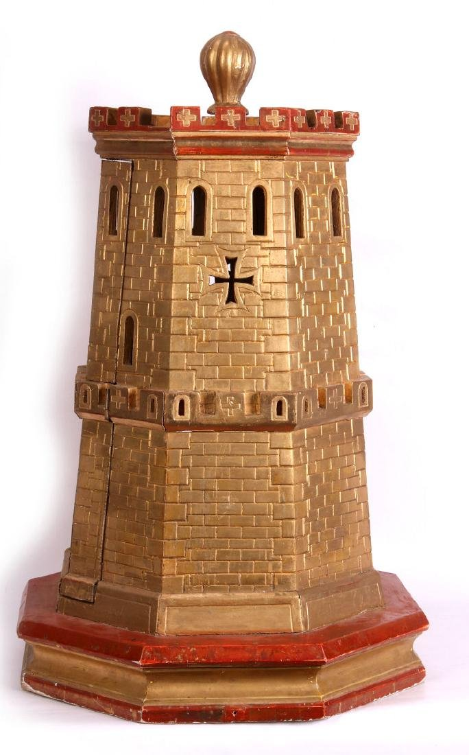 A CIRCA 1900 PAINTED WOOD MODEL OF A CASTLE TURRET - 8